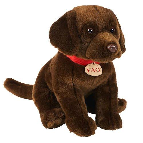 FAO Schwarz 12 inch Show Dog Plush Chocolate Labrador Brown