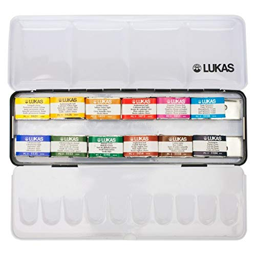Lukas Aquarell 1862 Watercolor Paint - Premium Watercolor Paint Vivid Color with Improved Color Lifiting Superior Transparency - Set of 12 Whole Pans