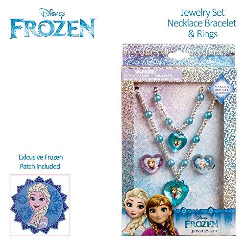 Disney Frozen Girls Jewelry Set Bead Bracelet Bead Necklace Plastic Charm Ring