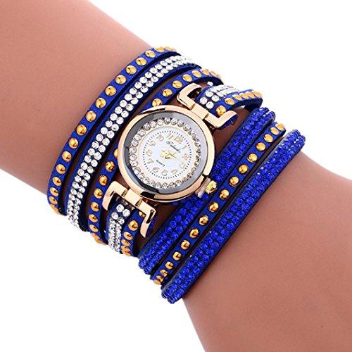 Sunbona Women Girls Fashion Wave Diamond Leather Bracelet Wrist Watches Blue