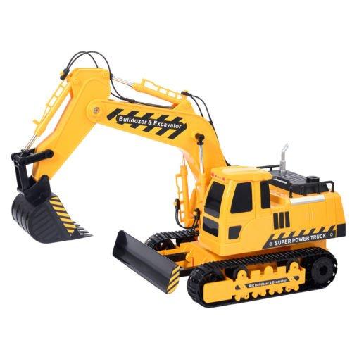 Goplus 118 5CH Remote Control RC Excavator Construction Bulldozer Digger Truck