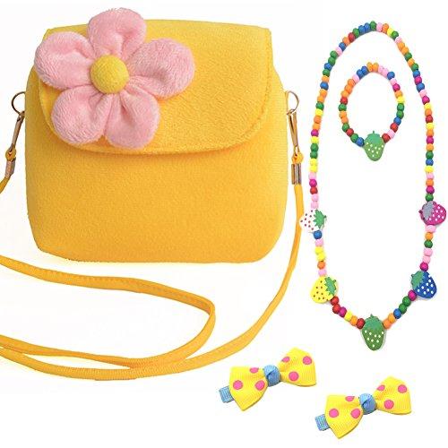 Aligle Cute Little Girl Fashionable Beauty Set Plush 3D Flower Handbag crossbody bag  2 bow-knot Hair Clip  Necklace and Bracelet SetYellow