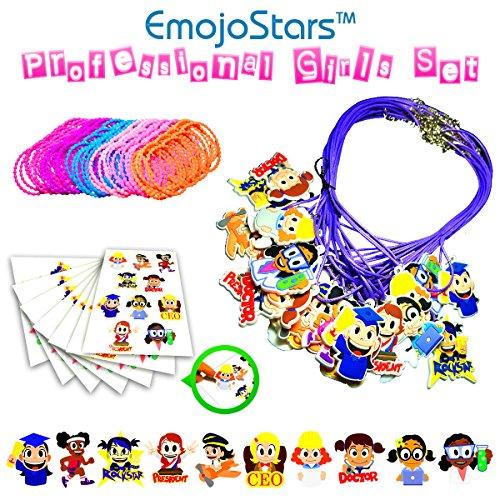 EmojoStars 75pc Emoji Theme Girls Toy Novelty Set Necklaces Stickers Bracelets Favor Set for Childrens Parties