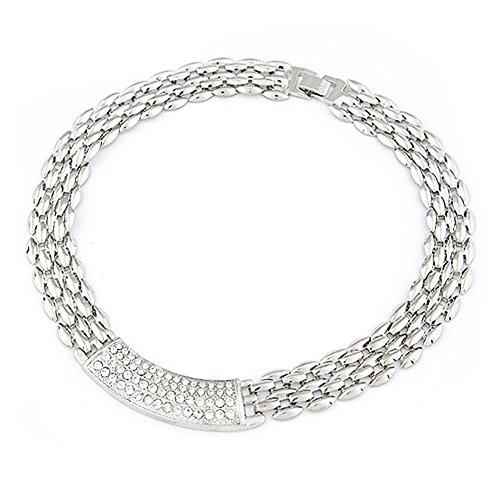 Delight eShop New Women Pendant Chunky Choker Statement Collar Fashion Necklace Chain Silver