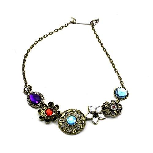 HuntGold Women Fashion Retro Crystal Diamond Flower Bronze Pendant Chain Choker Necklace