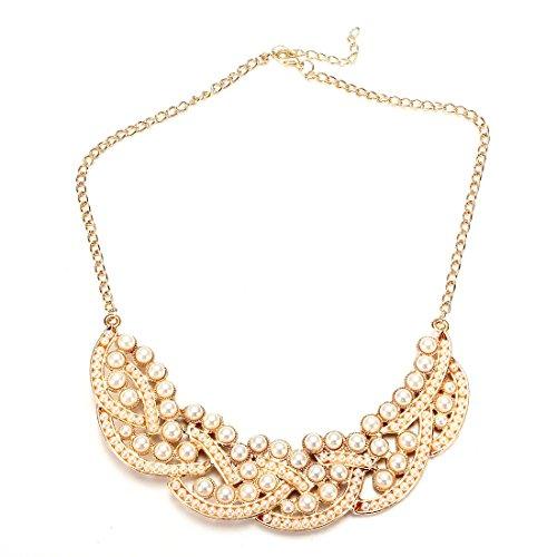 TOOGOOR Fashion Pearl Hollowed Golden Choker Bib Collar Necklace Pendant
