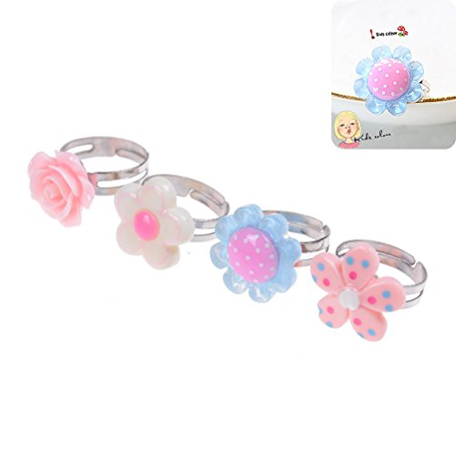 Jiabetterniu 4Pcs Kids Adjustable Flower Ring Multi Color Polymer Cute Finger Rings for Girls Handmade JewelryGirl Pretend Play and Dress Up RingsBirthday Gift Party Favors