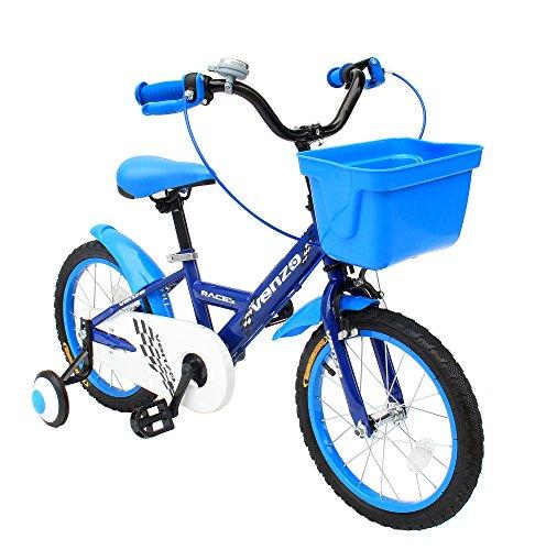 Venzo Children 16 Push Kids Bike with Training Wheels Blue