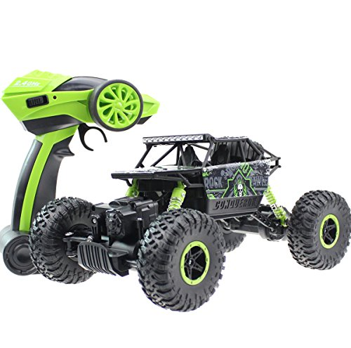 24Ghz 118 Battery Powered RC Rock Crawler Vehicle Toy 4 WD Fast Race Monster Off-Road Truck Green