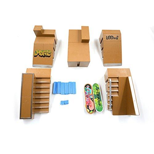 Kidsdream 5pcs Skate Park Kit Ramp Parts for Tech Deck Fingerboard Mini Finger Skateboard Fingerboards Ultimate Parks with 2PCS Finger Boards