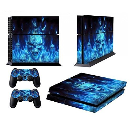 TFSM High Quality Vinyl Skin for PS4 Playstation 4 Systems and 2 controllers BLUE FLAME SKULL by TFSM