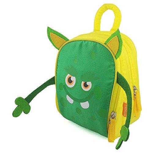 Zebrum Insulated Kids Lunch Box for School BoysGirls with Dual Compartments Kindergarten Kids Lunch Bag Cute Cartoon Monster YellowGreen