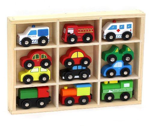 12 Pcs Wooden Train Cars Emergency Vehicles Collection Fits Thomas Brio Chuggington