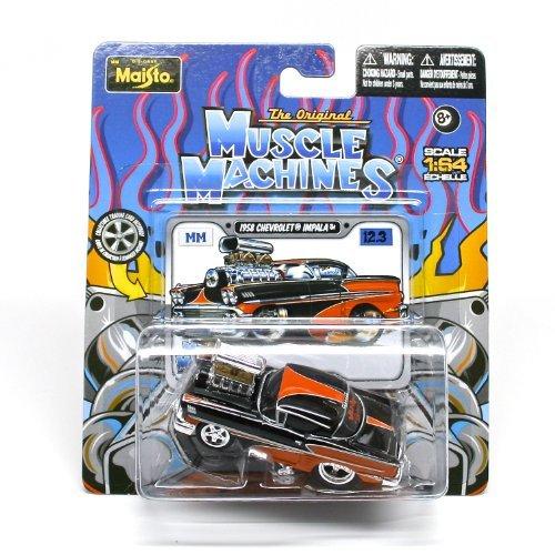 1958 Chevrolet Impala Black Orange  The Original Muscle Machines  Series 12 Maisto 164 Scale Die-Cast Vehicle Collection