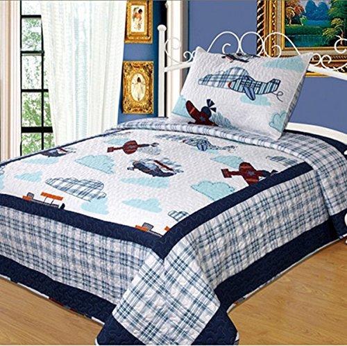 LELVA Boys Bedding Quilts Set Childrens Bedspreads Set Cartoon Patchwork Quilt Bedding Planes Twin Size 2 Pc