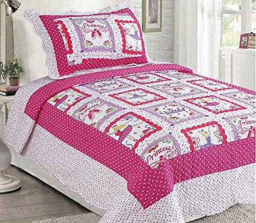 LuxuryDiscounts 2 Piece Pink Polka Dot Ballerina Princess Kids Quilt Bedspread Coverlet Set Twin QS-31