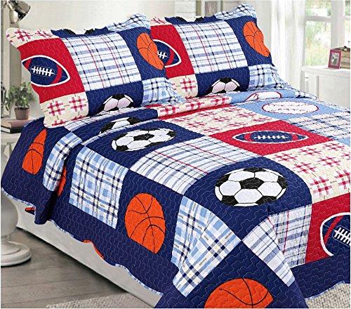Mk Collection Bedspread set Boys Sport Football Basketball Baseball Dark Blue Full