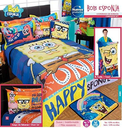 Bob Esponja 100 Microfiber Comforter Set 8Pc Full Size