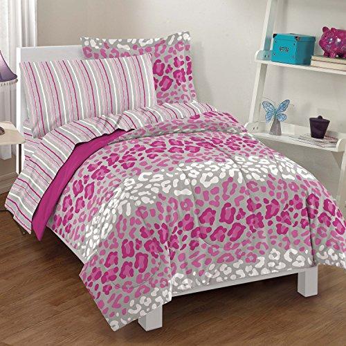 Dream Factory Safari Girl Leopard Ultra Soft Microfiber Comforter Set Pink Twin