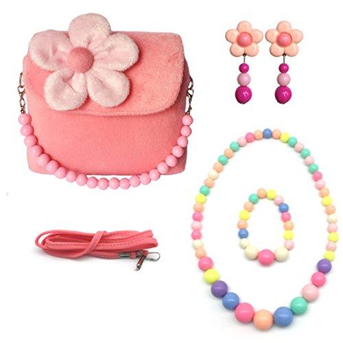 Elesa Miracle Little Girl HandBag Beauty Set Plush Handbag  Flower-shaped Clip-on Earrings  Necklace and Bracelet Set Pink