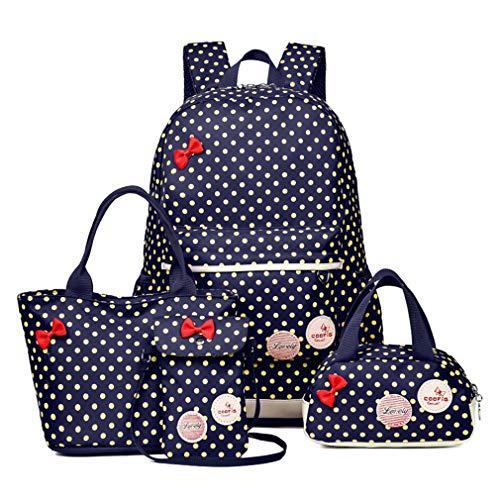 Girls 4 Pieces Canvas School Backpack Set Patterned Bookbag Laptop School Backpack dark blue 4 set