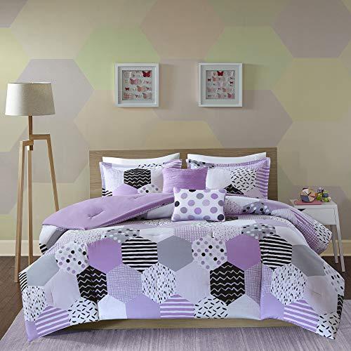 Urban Habitat Kids Trixie Purple Geometric - 4 Pieces Kids Girl Set - Cotton Childrens Bedroom Bed Comforters