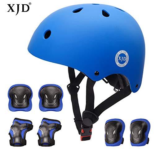 XJD Kids Helmet 3-8 Years Toddler Helmet Boys Girls Sports Protective Gear Set Knee Pad Elbow Pads Wrist Guards Adjustable Roller Bicycle BMX Bike Skateboard Helmets for Kids Blue S