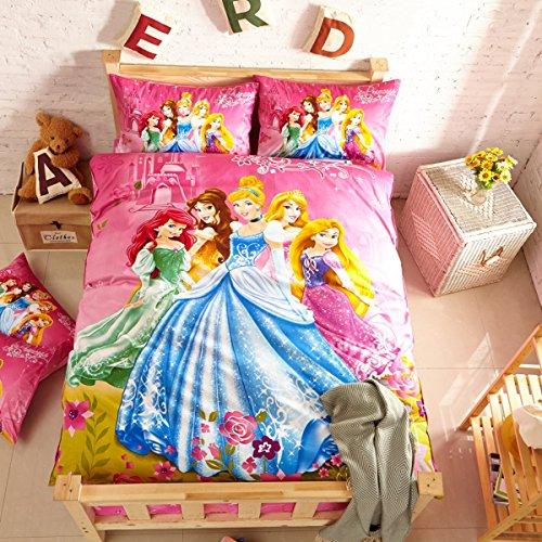 CASA Children 100 Cotton Gorgeous princesses Duvet cover Pillow cases Flat sheet3 PiecesTwin Extra-Long