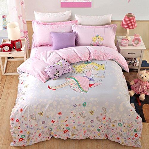 CASA Children 100 cotton series Swing Princess Duvet cover Pillow cases Flat sheet4 PiecesQueen