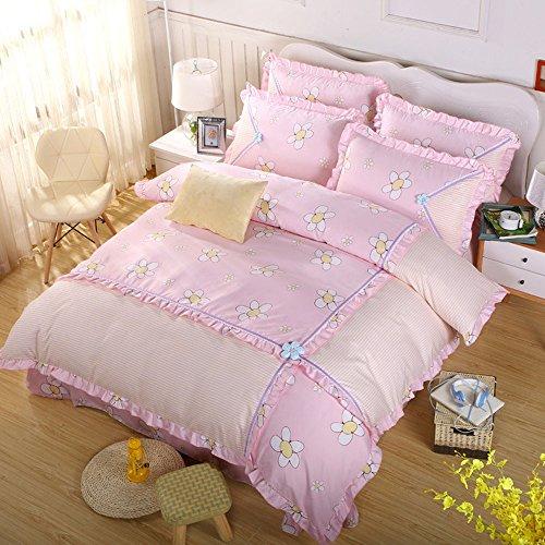 Korean Princess Bedding Set Flower Decorated Duvet Cover Elegant Ruffle Duvet Cover Set Lovely Romantic Bedding for GirlsQuilt Not IncludedQueen Size 3