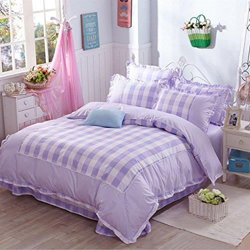 Korean Style Duvet Cover Set 100 Cotton Girls Ruffle Bedding Princess Bedding Set Plaid Design Duvet Cover Flouncing Bed SheetNo ComforterQueen Size 4
