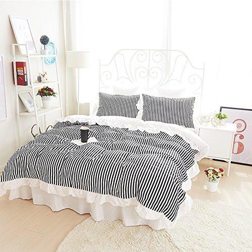 Sisbay Black Striped Simple Bedding Set Queen Size for GirlsChild Princess Duvet Cover Plain FalbalaFashion Spring Summer Bed Skirt4pcs