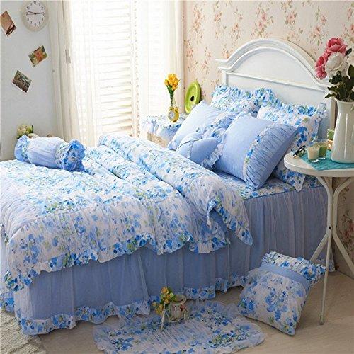 Sisbay Romantic Sakura Bed in a Bag Blue Rural Full Falbala RuffleGirls Princess Duvet Cover Cherry BlossomFrech Lace Wedding Bed Skirt Pillows9pcs