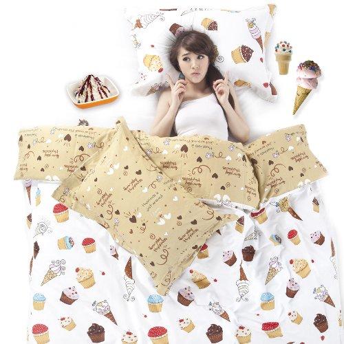 Sisbay Sweet Cupcake Cartoon BeddingHappy Princess Duvet Cover DessertChidren Girls Korean Bed SetTwin Queen King Size