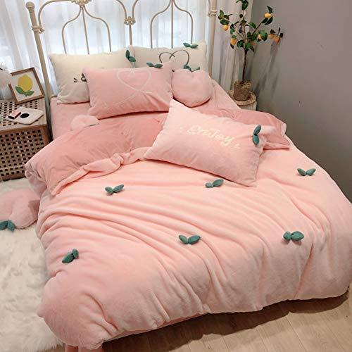 XIAOMEI Shaggy Japanese Style 4 Piece Bedding Set Warm Soft Coral Fleece Duvet Cover Set Thicken Plush Girl Quilt Cover Winter-Pink Diameter200cm79inch