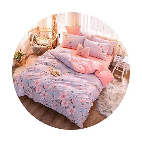 sunshine-xj 3pcs4pcs Cotton Bedding Sets Coral Fleece Duvet Cover Flat Sheet Pillowcase Winter Warm Flannel Bed Set Kids Bedding Sets15for 12M Bed-3pcBed Sheet