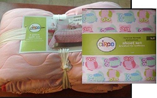 5 Piece Forest Forever Pink Kids Quilt Set Sheet Comforter Bedding Bundle Home Collection Childrens Bedroom