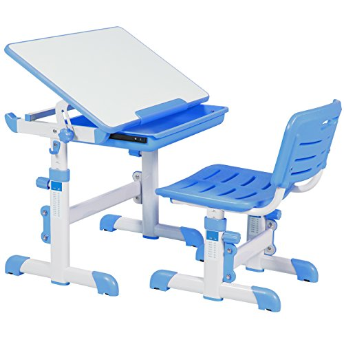 Best Choice Products Height Adjustable Childrens Desk and Chair Set For Kids Work Station Study Area- Blue
