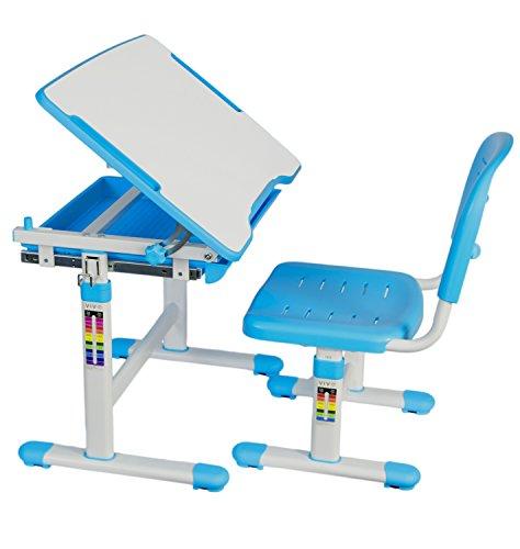 VIVO Height Adjustable Childrens Desk Chair Set  Kids Interactive Work Station Blue DESK-V201B