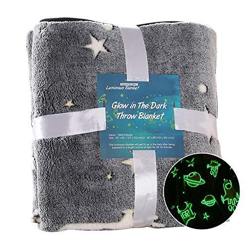 Glow in The Dark Throw Blanket Super Soft Cozy Flannel Blanket Fun Gift for Kids Boys Girls Toddlers Blanket Grey 50 60