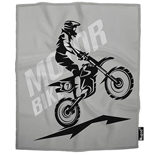 Mugod Motorbike Blanket Motocross Active Championship Jump Motorcycle Racer Helmet Fuzzy Soft Cozy Warm Flannel Throw Blankets Decorative for Boys Girls Toddler Baby Dog Cat 40X50 Inch