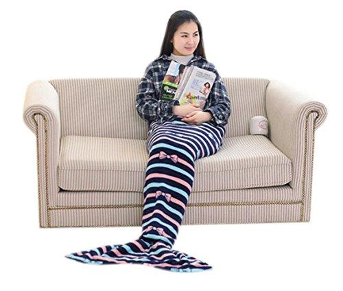 MizHome Blue Stripe Soft Plush Microfiber Mermaid Tail Blanket Kids