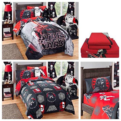 Disney Star Wars Kylo Ren Kids Reversible Comforter Microfiber Sheets Bedding Set - Full