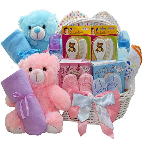 Art of Appreciation Gift Baskets Double The Fun New Baby Gift Basket Twin Girl and Boy by Art of Appreciation Gift Baskets