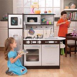 KidKraft Uptown Espresso Pretend Play Kids Wooden Kitchen w Metal Cookware Set