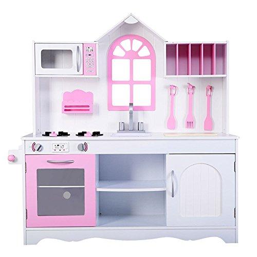 Kissemoji Kids Toddler Wooden Cooking Pretend Play Set Kitchen Toy