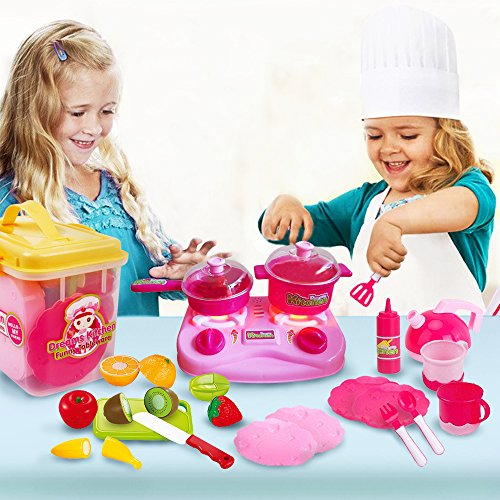 Mini Toy Kitchen Set for GirlsKidsToddlers - Includes Kids Dishes Set and Cutting Play Fruit Food Set- Toy Pots and Pans set - Toy Plates and Cups - Play Utensils Toy Kettle - Durable Storage Box