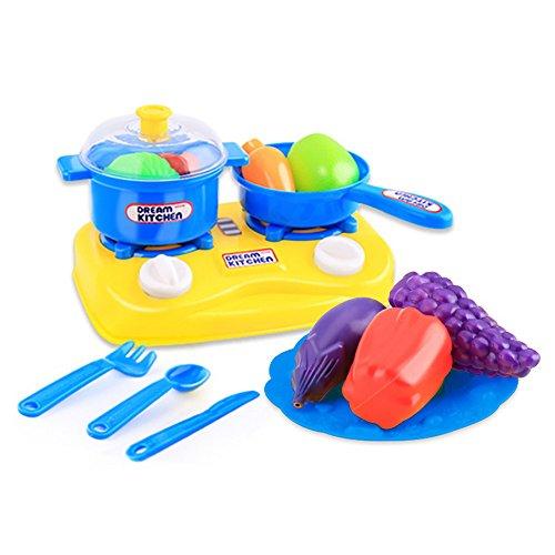 Buedvo 15pcs Plastic Kids Play Set Children Kitchen Utensils Food Cooking  Pretend Toy