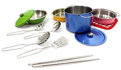 CHIMAERA Kids Metal Pots and Pans Kitchen Cooking Playset