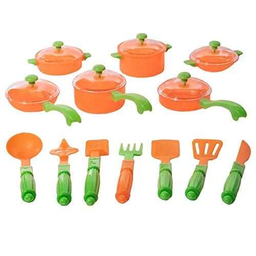 TukTek Kids First 13 Piece Kitchen Play Pot Pan and Utensil Cooking Playset